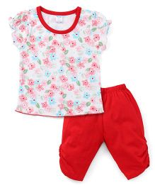Tango Short Sleeves Floral Print Top And Bottom Set - Off White Red