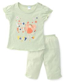 Tango Capri Night Suit With Little Fairy Print - Light Green