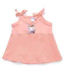 Tango Sleeveless Shoulder Tie Up Dotted Frock - Peach