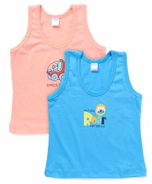 Tango Sleeveless Solid Color Vests With Print Pack Of 2 - Peach Blue