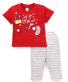 Tango Half Sleeves T-Shirt And Striped Pajama Night Suit - Red