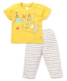 Tango Half Sleeves T-Shirt And Striped Pajama Night Suit - Yellow