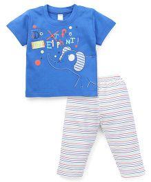 Tango Half Sleeves T-Shirt And Striped Pajama Night Suit - Blue