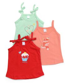 Tango Singlet Slips Pack of 3 - Red Peach Green