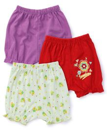 Tango Bloomers Pack of 3 - Red Purple Off White