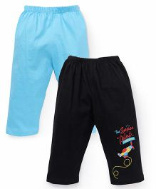 Tango Solid Color Lounge Pants With Print - Black Blue