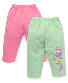 Tango Solid Color Leggings With Butterfly Print - Green Pink