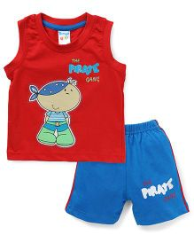 Tango Sleeveless T-Shirt And Shorts Sets Pirate Gang Patch - Red Blue