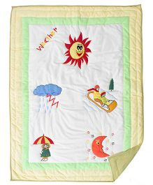 Blooming Buds All Seasons Theme Printed Infant Quilt - Multicolor