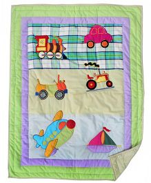 Blooming Buds Little Traveller Theme Printed Infant Quilt - Multicolor