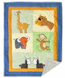 Blooming Buds Cheerful Jungle Friends Theme Printed Infant Quilt - Multicolor