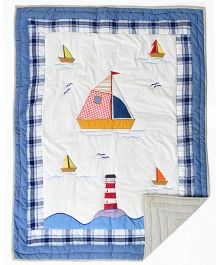 Blooming Buds Nautical Theme Printed Infant Quilt - White & Blue