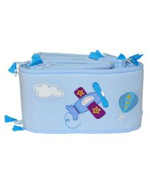 Blooming Buds Aeroplane Theme Cot Side Cover Bumper - Blue