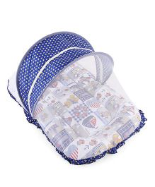 Mee Mee Mattress Set With Mosquito Net And Pillow - Navy Blue