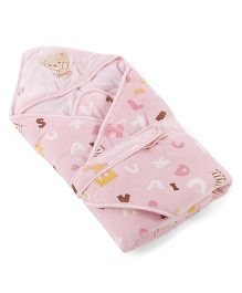 Mee Mee Hooded Swaddle Wrapper Printed With Teddy Patch - Pink