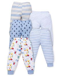 Kidi Wav Car Print Pyjamas Pack Of 5 - Blue