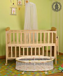 Babyhug Kelly Baby Cot With Bassinet - Natural