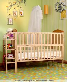 Babyhug Lily Baby Cot With Bassinet  - Light Brown