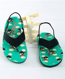 Pugs Flapper Lumi Digital Printed Flip Flops - Black & Green