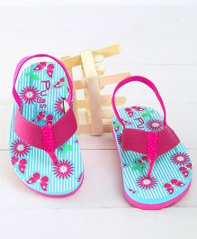 Pugs Flapper Floral & Butterfly Printed Flip Flops - Pink & Blue
