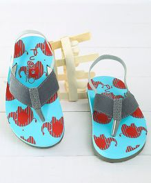 Pugs Flapper Lumi Little Elephants Printed Flip Flops - Blue & Red