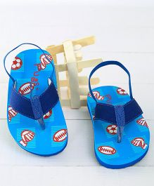 Pugs Flapper Lumi Game Time Printed Flip Flops - Blue