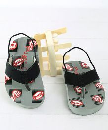 Pugs Flapper Lumi Game Time Printed Flip Flops - Grey