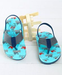 Pugs Flapper Lumi Whales Printed Flip Flops - Grey & Light Blue