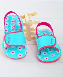 Pugs Flapper Lumi Little Lillie Printed Flip Flops - Blue