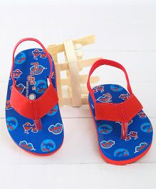 Pugs Flapper Vehicles Printed Flip Flops - Red & Blue