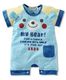 Lil Mantra Bear Design Romper - Blue
