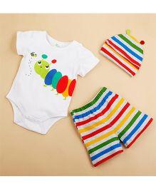Pre Order - Lil Mantra Romper Suit With Stripe Shorts & Cap - Multicolour