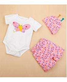Lil Mantra Butterfly Print Onesie Suit With Shorts & Cap - Pink