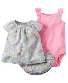 Lil Mantra Flower Print Top Blommer & Onesie Set - Pink & Blue
