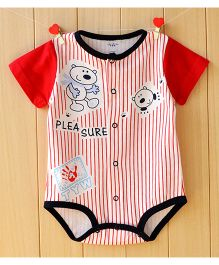 Lil Mantra Stripped & Bear Print Onesie - Red
