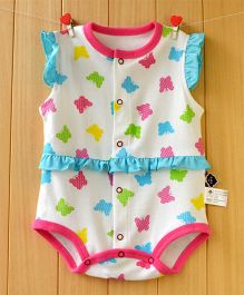 Lil Mantra Butterfly Print Frilly Onesie - Pink & Blue