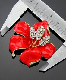 Flaunt Chic  Diamante & Floral Petal Broach - Red