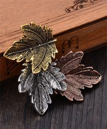 Flaunt Chic  Leaf Design Broach - Bronze