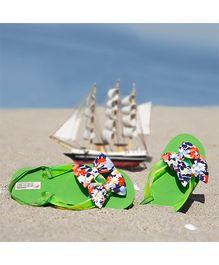 D'chica Bow Applique Flip Flops - Green