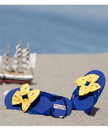 D'chica Floral Printed Bow Applique Flip Flops - Blue