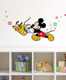 Mickey And Pluto Wall Decal - Red And Yellow by L'Orange