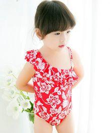 Milonee Floral Printed One Of Shoulder Swimwear - Red