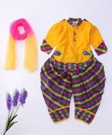 Aarika Cute Designer Kurti Patiala & Dupatta Set - Yellow & Multicolour