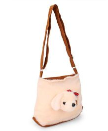 IR Plush Shoulder Bag With Puppy Face - Cream