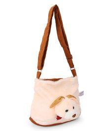 IR Plush Shoulder Bag With Bunny Face - Cream