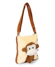 IR Soft Fur Monkey Faced Shoulder Bag - Brown
