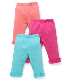 Zero Full Length Leggings Pack of 3 - Peach Pink Sea Green