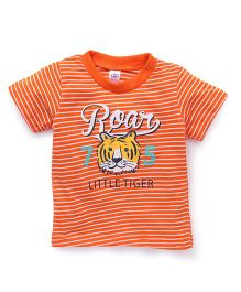 Zero Half Sleeves Stripe T-Shirt Roar Print - Orange