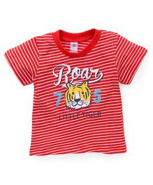 Zero Half Sleeves Stripe T-Shirt Roar Print - Red