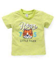 Zero Half Sleeves Stripe T-Shirt Roar Print - Green